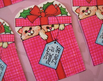 Vintage Christmas Kitty Cat Gift Tags / Do Not Open / Large / Bright Colors / Holly
