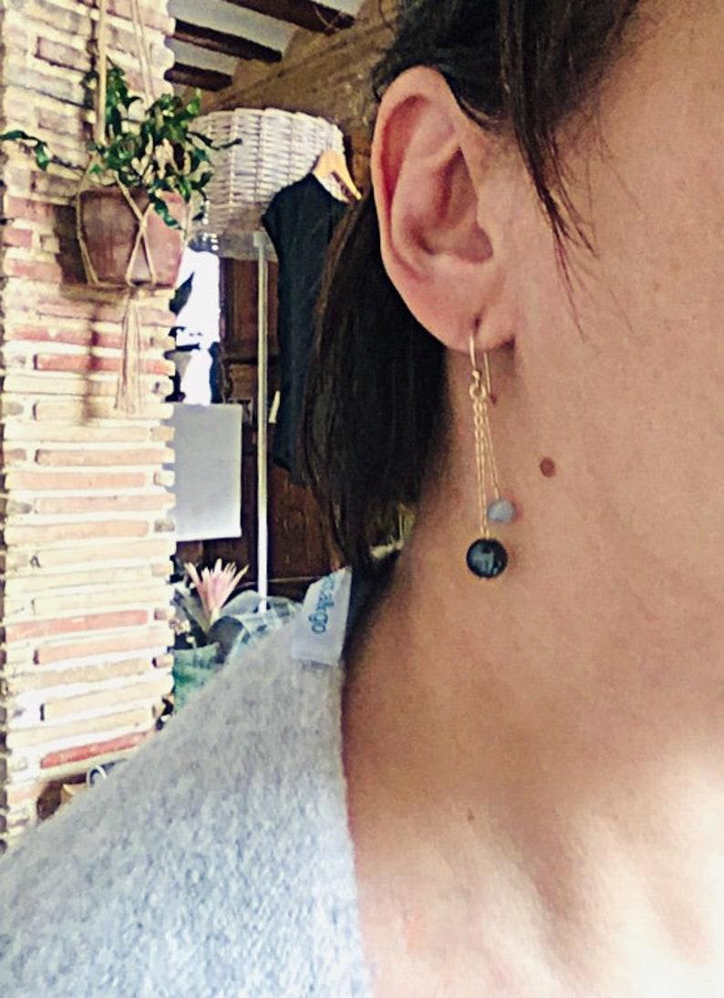 Hematite earrings Double strand earrings Gold plated earrings Grey earrings Gemstone earrings Fashion earrings Nice gift