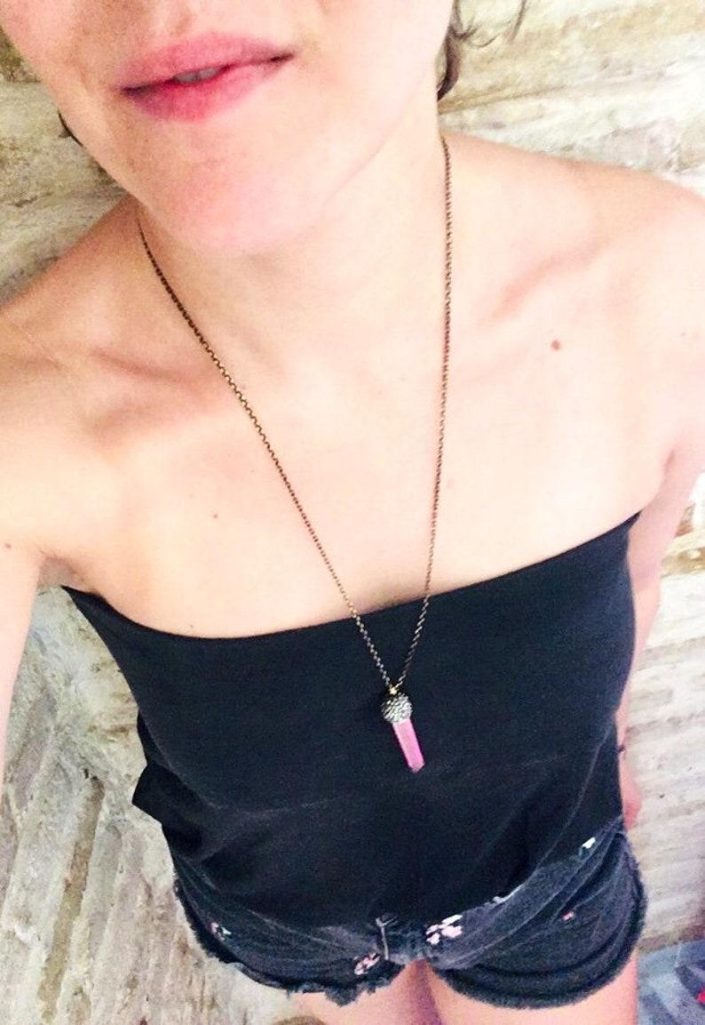 Aura quartz necklace Quartz necklace Zirconia necklace Pink aura quartz necklace Long necklace Gift Cool gift Contemporary jewels