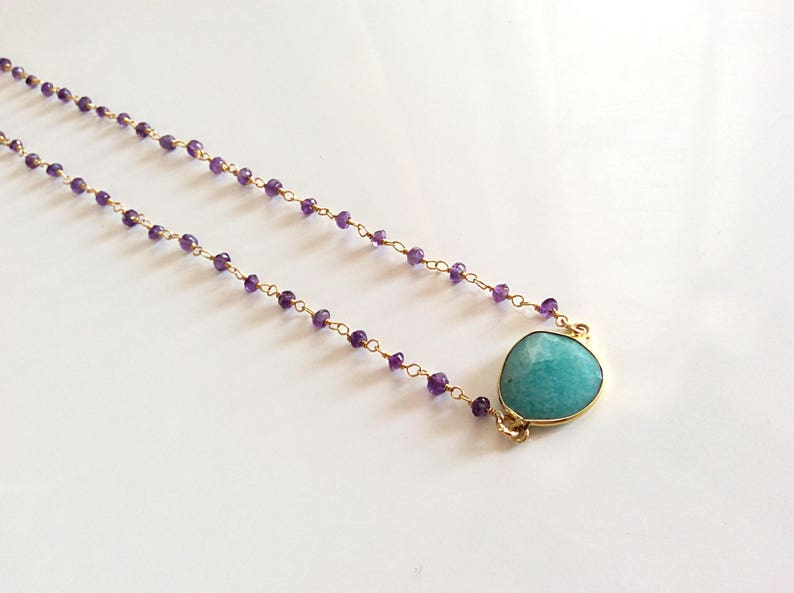 Amethyst necklace Peruvian opal necklace Genuine gemstone necklace Short necklace Purple amethyst jewellery Cabochon necklace Gift