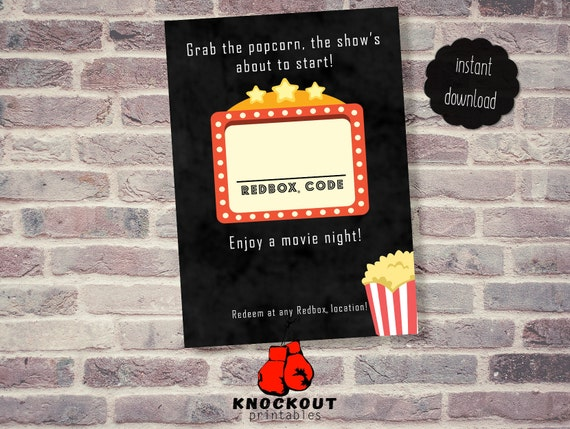 image regarding Redbox Printable named Get the Popcorn, Delight in a Video Night time Redbox® Printable - Online video Nite Pink box code - Online video Thank Yourself - Flicks Birthday -Electronic Obtain