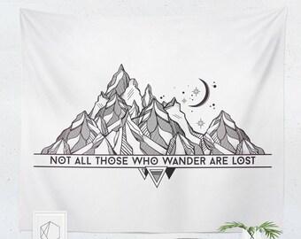 Wanderlust Tapestry   Wanderlust Wall Hanging   Wanderlust Wall Décor   Wanderlust Wall Art   Mountain Tapestry   Mountain Wall Hanging