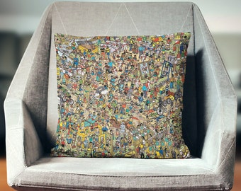 Wheres Waldo Gift | Wheres Waldo Pillow | Wheres Wally Pillow | Wheres Wally Gift | Fun Pillow | Novelty Pillow | Novelty Throw Pillow