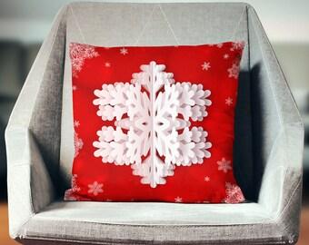 Snowflake Pillow   Snowflake Decor   Snowflake Decoration   Holiday Pillows   Festive Decor   Christmas Decor   Snowflake Cushion