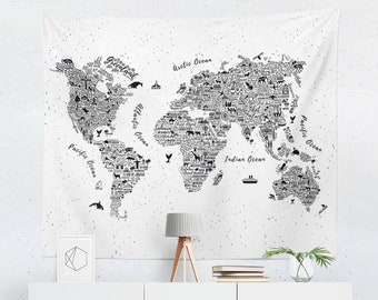 World map tapestry etsy world map tapestry world map wall art world map wall hanging world map art world map wall decor gumiabroncs Gallery