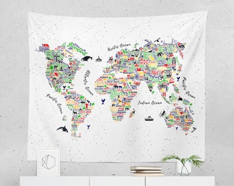 World map tapestry etsy world map wall hanging world map tapestry world map wall decor world map art map tapestry map wall decor map wall art gumiabroncs Gallery