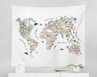 World Map Tapestry World map tapestry | Etsy World Map Tapestry