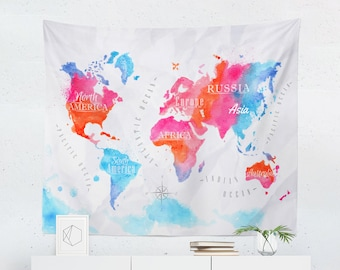 World map tapestry etsy quick view world map gumiabroncs Images