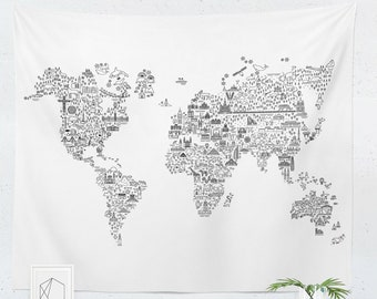 small world map tapestry World Map Tapestry Etsy