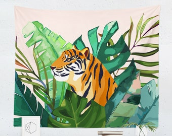 Tiger ~ On Safari Tapestry Wall Hanging Panel w//Topper