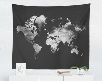 World map tapestry etsy silver world map tapestry grey world map wall tapestry watercolor map tapestry watercolor map wall tapestry silver world map wall gumiabroncs Gallery