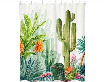 Cactus Shower Curtain | Cactus Bath Curtain | Succulent Shower Curtain | Succulent Bath Curtain | Cactus Bathroom Decor | Cactus Curtain