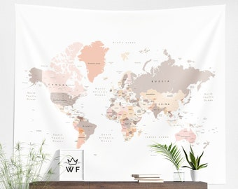 World Map Tapestry | World Map Wall Hanging | World Map Wall Décor | World Map Wall Art | Map Tapestry | Map Wall Hanging | Map Wall Décor |