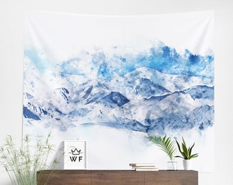 Mountain Tapestry | Mountain Wall Hanging | Mountain Wall Décor | Mountain Wall Art | Watercolor Tapestry | Watercolor Wall Hanging
