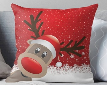 Bonnie Jeans Homestead Prints Farmhouse Moose Merry Christmas Pillow