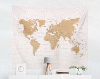Map wall hanging etsy world map tapestry map wall tapestry world map wall art world map wall hanging world map art world map wall decor gumiabroncs Gallery
