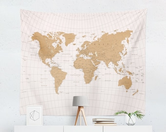 Antique World Map Tapestry.World Map Tapestry Etsy
