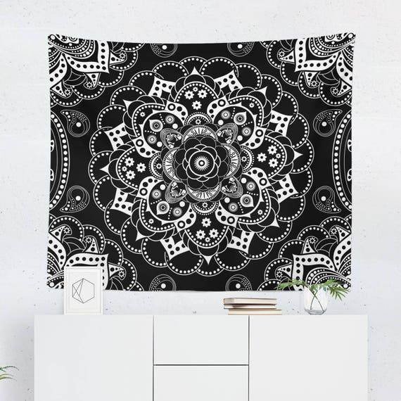 Mandala Tapisserie Tapisserie Murale Mandala Noir Etsy