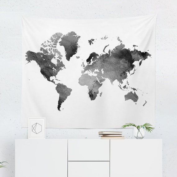 Black world map tapestry black world map wall tapestry etsy image 0 gumiabroncs Images