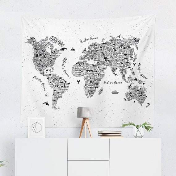 World map tapestry world map wall art world map wall etsy image 0 gumiabroncs Choice Image