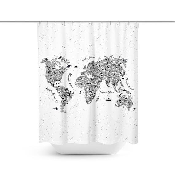 World map shower curtain world map bathroom dcor cool gumiabroncs Gallery