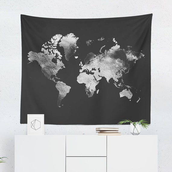 Silver world map tapestry grey world map wall tapestry etsy gumiabroncs Images