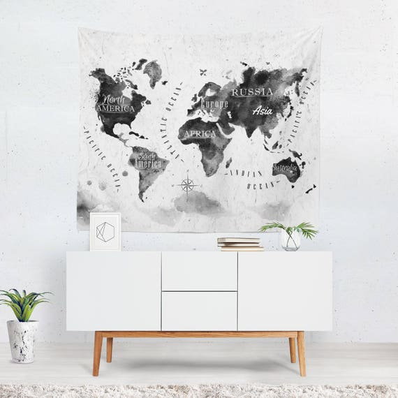 World map wall hanging world map tapestry world map wall etsy image 0 gumiabroncs Images