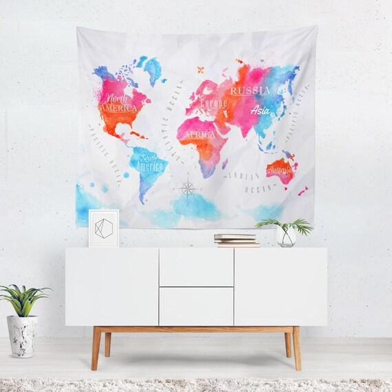 monde carte murale decor monde carte murale carte du monde etsy. Black Bedroom Furniture Sets. Home Design Ideas