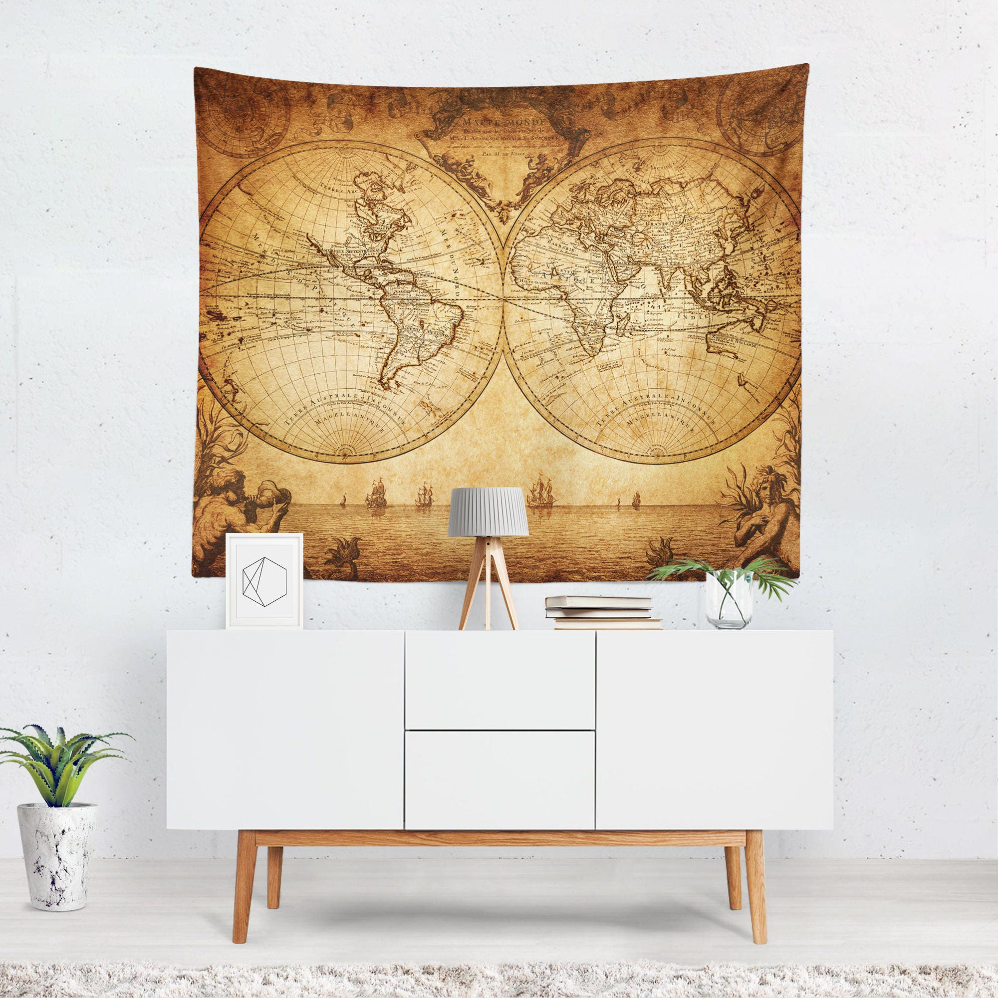 Vintage World Map Tapestry Vintage Map Wall Tapestry World | Etsy