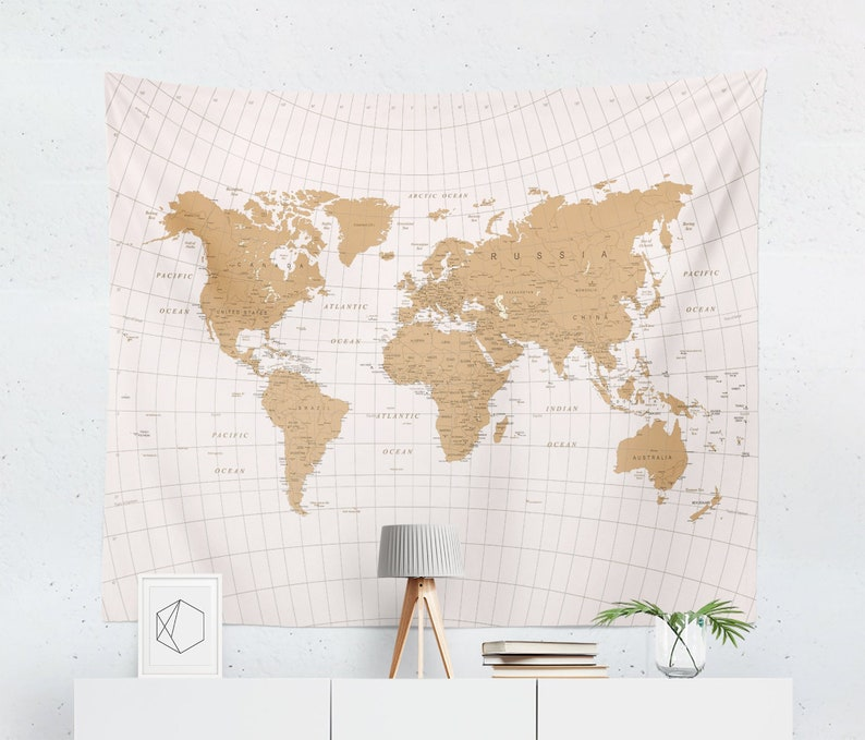 World Map Tapestry | Map Tapestry | World Map Wall Tapestry | Map Wall on