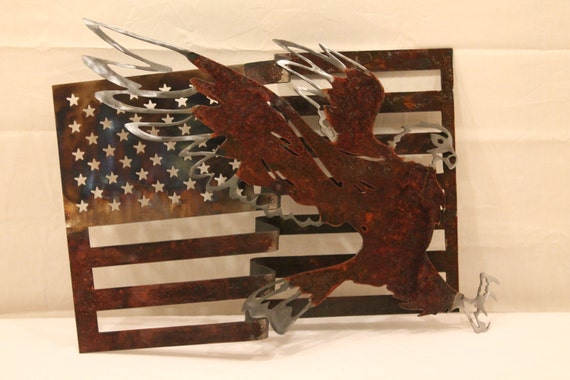 American Flag wall art with Eagle