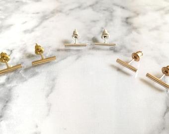 Gold Bar Studs, Silver Bar Studs, Rose Gold Bar Studs, Minimal Bar Earrings, Tiny Bar Studs, Minimal Bar Studs, Bar Earrings, Bar Studs, Bar
