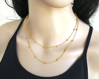 Double Satellite Necklace, Gold Beaded Necklace, Dainty Beaded Necklace, Bead Layer Necklace, Gold Layer Necklace, Satellite Layer Necklace