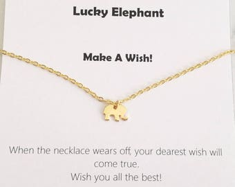 Tiny Elephant Necklace, Gold Elephant Necklace, Baby Elephant Necklace, Lucky Elephant Necklace, Good Luck Elephant Necklace, gift for her
