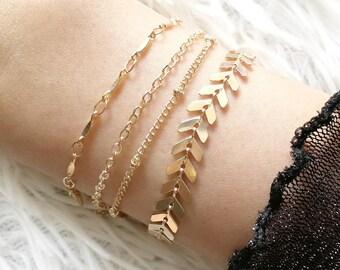 Gold Fishbone Bracelet, Gold Bar Chain Bracelet, Dainty Gold Bracelet, Gold Chain Bracelet, Layering Bracelet, Stacking Bracelet, Bracelet
