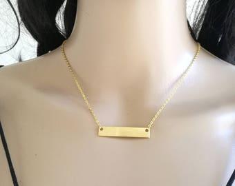 Bar Necklace, Gold Bar Necklace, Dainty Bar Necklace, Shiny Bar Necklace, Delicate Bar Necklace, Layering Necklace, Minimal Gold Necklace