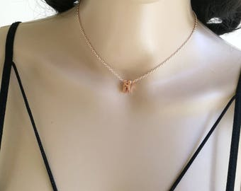 Initial Necklace, Tiny Initial, Rose Gold Initial Necklace, Letter Necklace, Small Initial Necklace, Rose Gold Letter Necklace, Initial