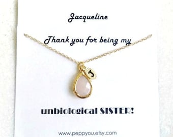 Best Friend Necklace Gift, Initial Crystal Necklace, Personalized Tiny Initial Necklace Crystal, Unbiological Sister Necklace, BFF necklace