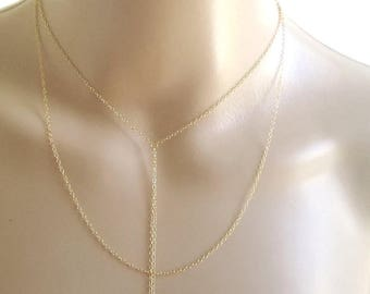 Double Strand Lariat, Double Lariat, Gold Lariat Necklace, Double Chain Necklace, Layered Lariat, Gold Y Necklace, Dainty Y Layer, Lariat
