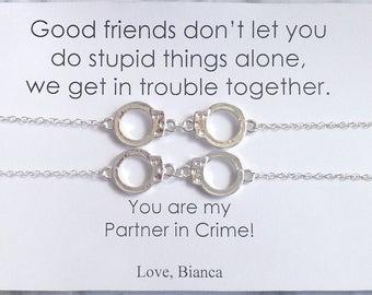 PARTNERS IN CRIME Double Bracelet, Partners in Crime Bracelet Card, Handcuff Silver Bracelet, Friendship Silver Bracelet, Friends Handcuff