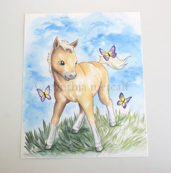 Cute Baby Horse Art Baby Palomino Original Nursery Painting Etsy