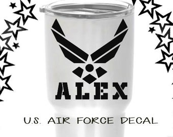U.S. Air Force decal, Personalized Air Force decal, Air Force decal sticker, Air Force yeti decal, Air Force tumbler decal, Air Force gift