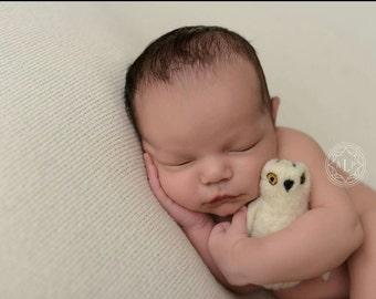 Owl stuffy, owl prop, felted owl, snowy owl, owl stuffed animal, newborn photography props, felted owl