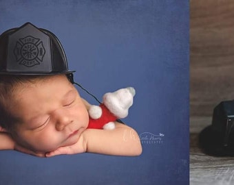 Newborn firefighter prop, newborn firefighter set, felted photography prop, felted lovey, fire hydrant, felted props, firefighter