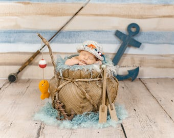 Fishing set, baby fishing prop, fishing photography prop, gone fishing set, newborn Fishing set