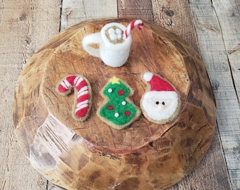 Felted props, cookies for Santa, felted coffee cup, milk and cookies, felted lovey, Christmas props, hot chocolate mug, sugar Cookies