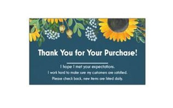 100 Professional Thank You Cards For  Poshmark Etsy Feedback Black Floral