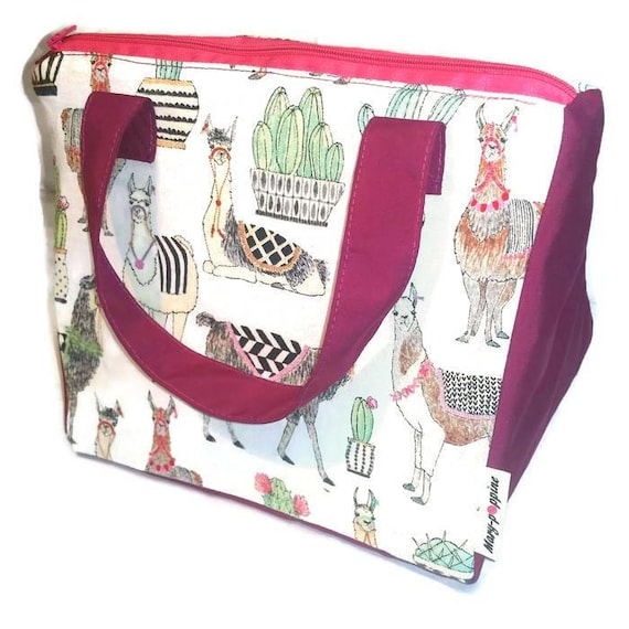 9b9049dd00a0 Kids lunch box / lunch bag / insulated lunch, thermos, insulated bag. Llama  and cactus