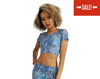 813ef60cd3 HOLOGRAPHIC CROP TOP - Blue with Holographic Silver Print (Handmade)