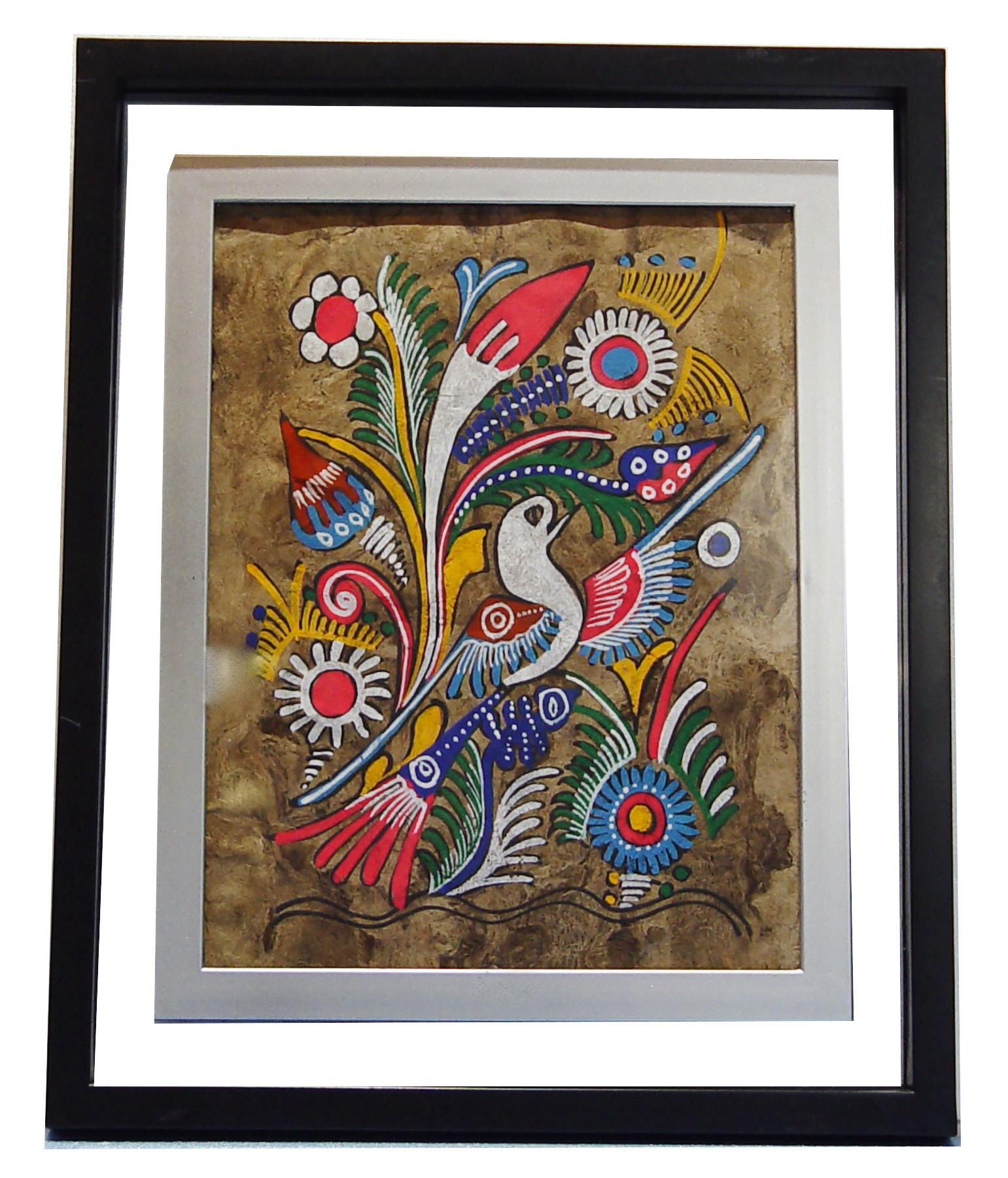 Vintage 15 X 12 Mexican Folk Art On Amate Bark New See Thru Glass